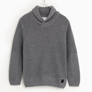 Zara boys mid grey shawl neck sweater